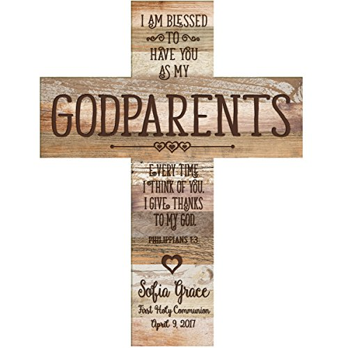 LifeSong Milestones Personalized Godparent Gifts from Godchild Custom Engraved Decorative Wall Cross Godparents Gift Ideas 1st holy Communion I am Blessed- Dark Distressed Color