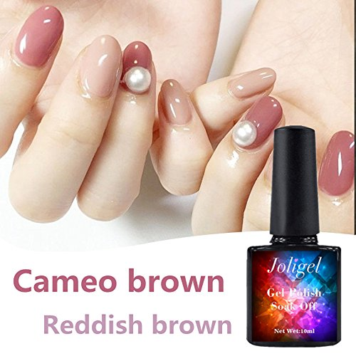 Joligel Gel Nail Polish 10ml Semi Permanent for Manicure Pedicure UV LED, Soak Off, Healthy Resin No Odor, Cameo Brown Reddish Brown, Classic Color for Winter, Easy to Apply for ()