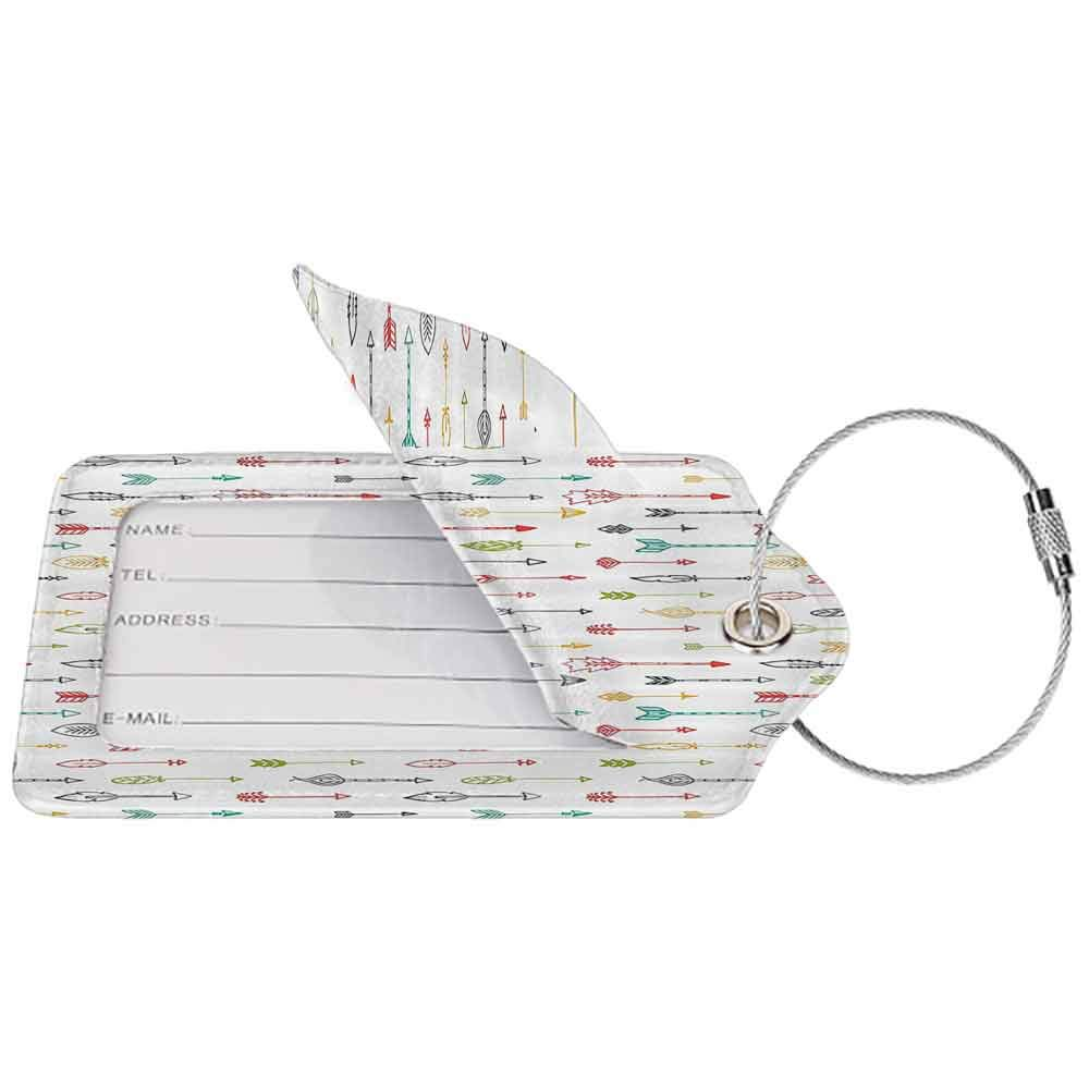 Multicolor luggage tag Arrow Decor Collection Color Pen Doodle Style Fun Art with Arrows Picture Hanging on the suitcase Coral Yellow Green W2.7 x L4.6