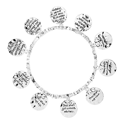 Ten Commandments Circle Charm Hammered Women's Silver-Plated Stretch Bracelet