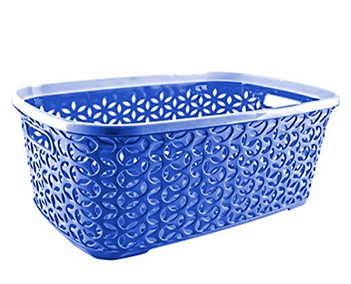 Uniware 38 LT Hollow Design Clothes Hamper Laundry Basket, Made In Turkey (1, Blue)
