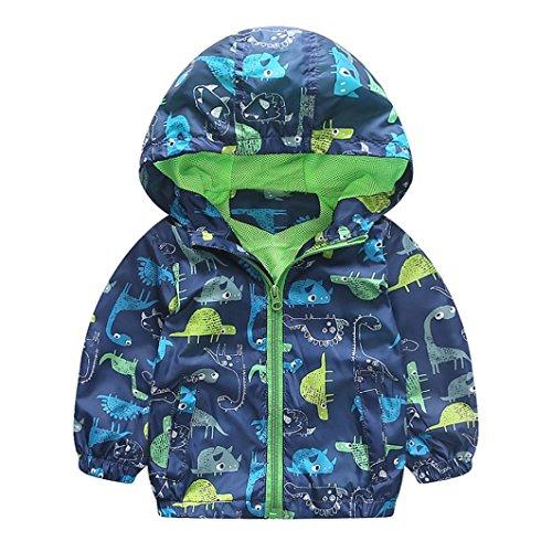 KONFA Baby Boys Girls Geometry/Dinosaur Print Hooded Jacket Coat,Suitable for 1-3 Years old,Winter Warm Thick Cloak Tops (Green-Dinosaur, 6-12 Months)