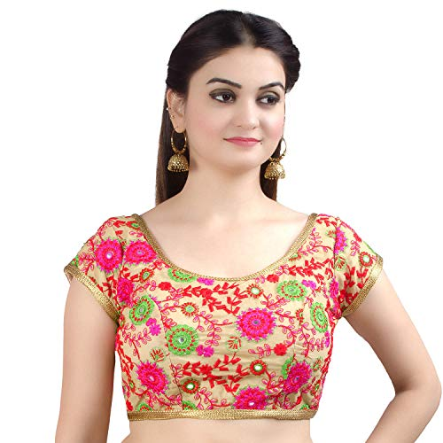 Chandrakala Women's Designer Bollywood Readymade Beige Indian Style Saree Blouse Padded Brocade Choli-Small (B129BEI2)