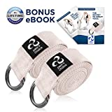 pete's choice 2 Pack Yoga Exercise Adjustable Straps 8Ft | Bonus eBook | with Durable D-Ring for Pilates & Gym Workouts | Hold Poses, Stretch, Improve Flexibility & Maintain Balance