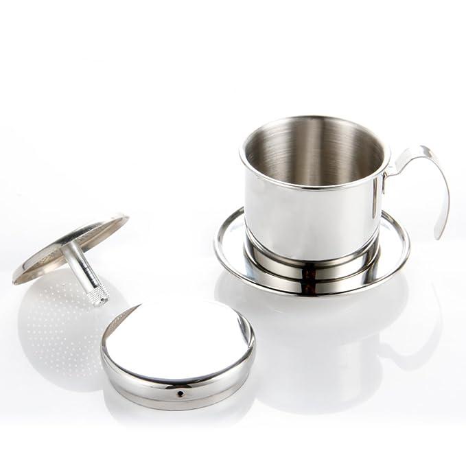 Echi Cafetera Pot, goteo de acero inoxidable cafetera eléctrica de goteo taza café vietnamita - Portátil para hogar cocina oficina uso en exteriores: ...