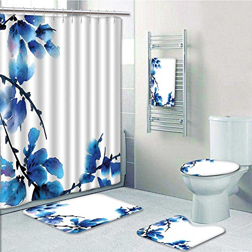 vanfan 5-piece Bathroom Set-Includes Shower Curtain Liner, Asian Branches in Leaves Petals Botany Blue Decorate the bathroom(Medium size) durable service