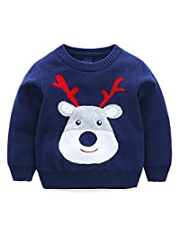Mud Kingdom Kids Sweaters Christmas Deer Knit Pullover