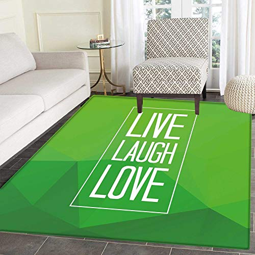 Live Laugh Love Print Area Rug Triangular Polygon Background with Rectangle Frame with Motivation Perfect for Any Room, Floor Carpet 4'x6' Apple Green White