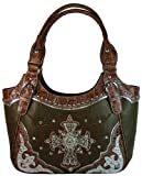 Texcyngoods Western Style Purse Handbag w Bling Cross Embroidered Roses Khaki, Bags Central
