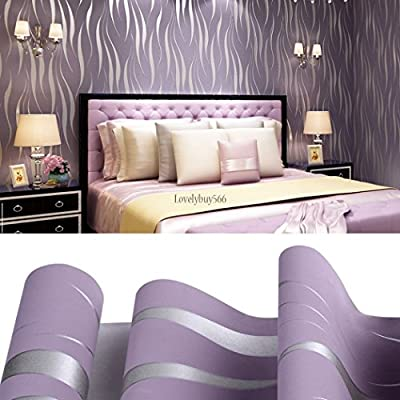 10M Non-woven 3D Wave Flocking Wallpaper Rolls > Bedroom Improvement