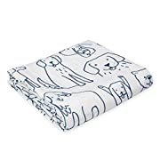Oliver & Rain Baby Swaddle Blanket - Newborn 100% Organic Cotton Dog Print Muslin Swaddle Blanket