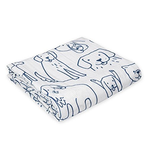 Oliver & Rain - Organic Cotton Dog Print Muslin Swaddle Blanket, NB