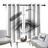 Lewis Coleridge Bedroom Curtain Eye,Pencil Drawing Artwork of a Staring Female Eye with Long Lashes and a Curvy Eyebrow,Grey White,Insulating Room Darkening Blackout Drapes 100'x96'