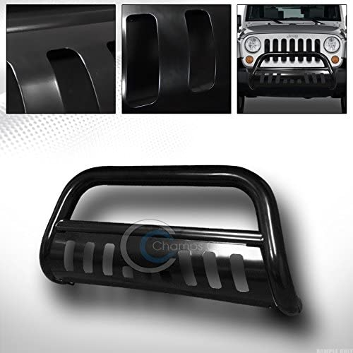 R/&L Racing Black Heavy Duty Bull Bar for 2007-2009 Jeep Wrangler JK All Models Brush Push Front Bumper Grill Grille Guard