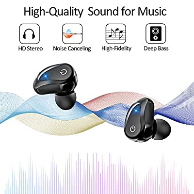 GUSGU True Wireless Earphone TWS Wireless Bluetooth Earbuds 45H Playtime with Deep Bass Built-in Mic Mini Portable Bluetooth Earbuds with Charging Case for Sport/Running/ Gym (Black)