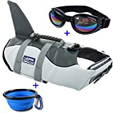 URSKYTOUS Dog Life Jacket Shark Pet Life Vest for Swimming Puppy Swimsuit Lifesaver Preserver with Sunglass and Travel Bowl (M, Shark)