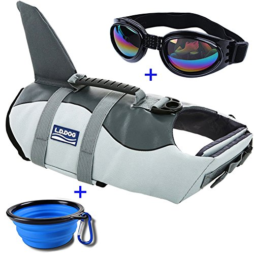 URSKYTOUS Dog Life Jacket Shark Pet Life Vest for Swimming Puppy Swimsuit Lifesaver Preserver with Sunglass and Travel Bowl (L, Shark) by URSKYTOUS