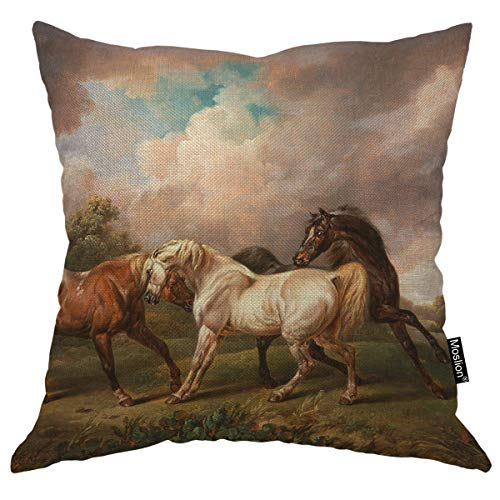 - Moslion Throw Pillow Cover Three Horses 18x18 Inch Walking Stormy Landscape Clouds Tree Grass Square Pillow Case Cushion Cover for Father's Day Home Car Decorative Cotton Linen