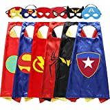 Roko 3-10 Year Old Boy Gifts, Superhero Costume for Boys Superhero Capes for Kids Boys Toys for 3-10 Year Old Boys Girls Cartoon Dress up Costumes Party Supplies Stocking Fillers 6 Pack RKUSPF06