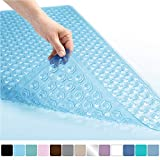 GORILLA GRIP Rectangle (35-Inch-by-16-Inch) Non-Slip Machine Washable Bath Mat, Blue