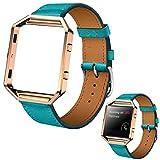ABC Luxury Genuine Leather Watch band Wrist strap + Metal Frame for Fitbit Blaze Smart Watch (Blue)