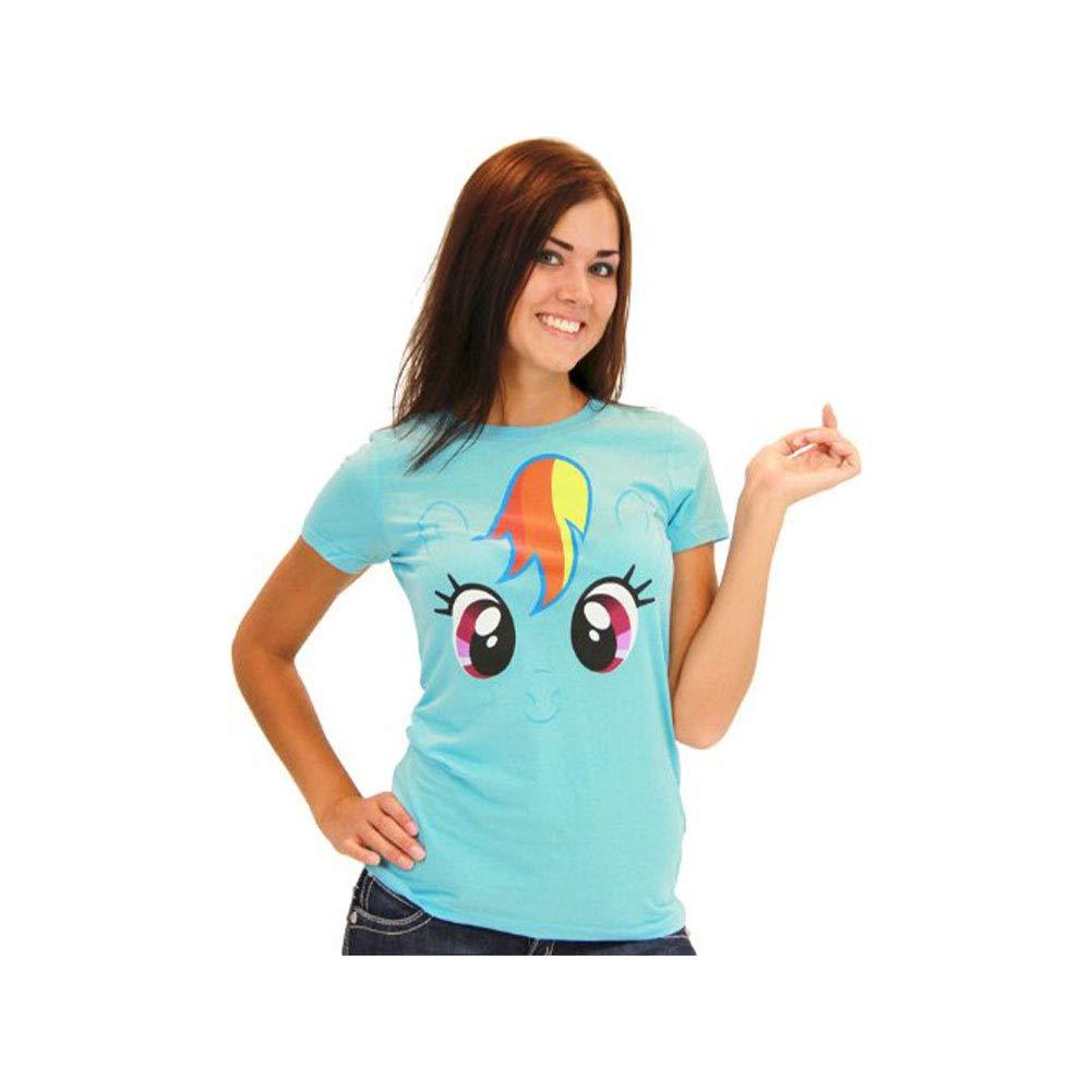 My Little Pony Rainbow Dash Big Face Neon Sky Blue Juniors T-shirt
