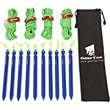 GEERTOP 10 Pack 7-in Aluminum Tent Pegs Stakes & 4mm Reflective Guy lines with Cord Adjuster & Pouch for Hiking Camping Mountaineering