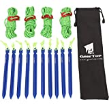 GEERTOP 10 Pack 7-in Aluminum Tent Pegs Stakes & 4mm Reflective Guy lines with Cord Adjuster & Pouch for Hiking Camping Mountaineering (Blue)