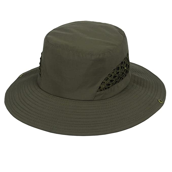Gumstyle Summer Sun Hunting Fishing Cap Cowboy Wide Brim Boonie Bucket Hat  Ventilate at Amazon Men s Clothing store  87e2c7edd07