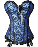 Women's Lace up Overbust Corset Steel Boned Bustier with G-string