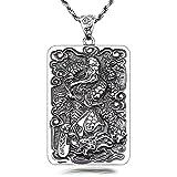 Epinki S925 Plata Collar Dios Riqueza Dios Riqueza General Guan Yu Colgante Amuletos Suerte Cadena Plata Cadena A-60CM