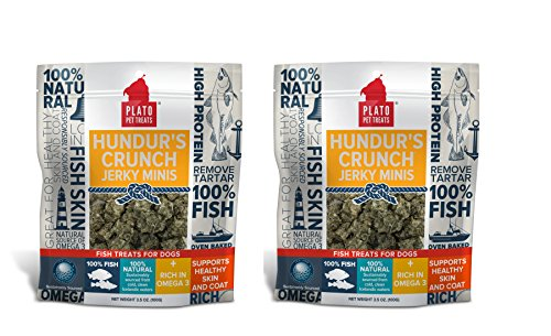 PLATO Dog Treats - Hundur's Crunch Jerky Minis - Pet Treats, All-Natural, Non-GMO, No Artificial Flavors, or Preservatives, Made in the USA - Flavor Fish Jerky