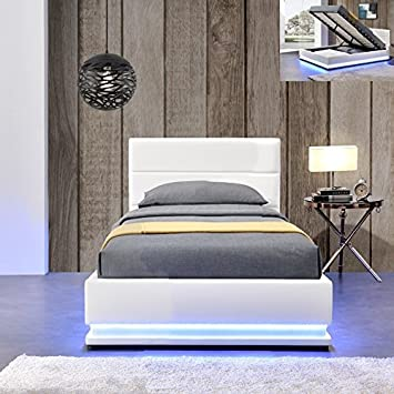 Meubler Design Lit Led Avec Coffre De Rangement Ava Blanc 90x190
