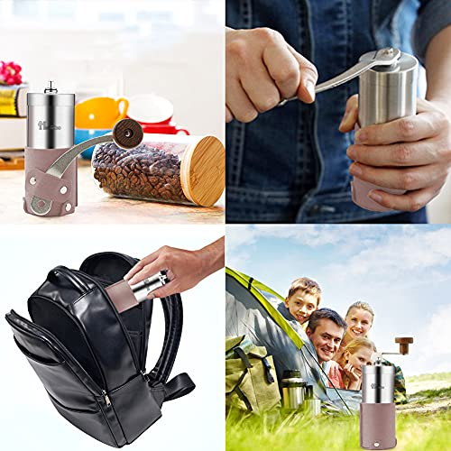 Portable Manual Coffee Grinder Set Professional Conical Ceramic Burrs Stainless Steel Grinder Easy to Clean for Home Travel Outdoor (Gray)