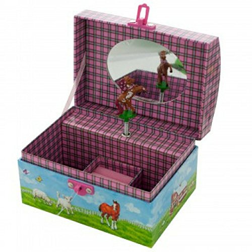 Horse Musical Jewelry Box for Girls - Beautiful Musical Necklace Box that comes with a Free Cool Gifts Yellow Necklace - The Perfect Girl Gifts for Cowgirls and Horse Lovers by BoomBoxHub