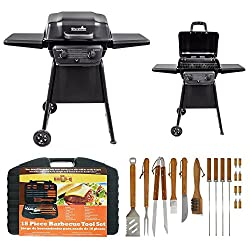 Classic 280 Two Burner Liquid Propane Gas Grill By Char Broil Mr Bar B Q 18 Piece Stainless Steel Barbecue Set With Storage Case Grilling Barbecue Tool Outdoor Cooking Weather Rust Resistant