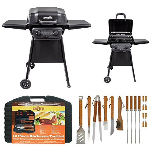 Classic 280 Two Burner Liquid Propane Gas Grill By Char-Broil & Mr. Bar-B-Q 18-Piece Stainless-Steel Barbecue Set with Storage Case, Grilling & Barbecue Tool, Outdoor Cooking, Weather & Rust Resistant