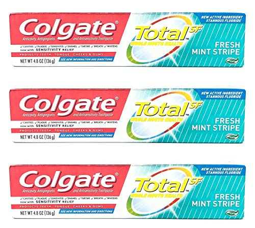 Colgate Total Toothpaste, Fresh Mint Stripe Gel, 4.8 oz (Pack of 3)