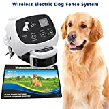 Invisible Wireless Dog Fence System Outdoor Electronic Wireless Dog Fence System 500M Radius Remote Control Rechargeable Waterproof Receiver Training Collar Beep/ shock/static Mode