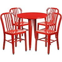 Flash Furniture 30 Round Red Metal Indoor-Outdoor Table Set with 4 Vertical Slat Back Chairs