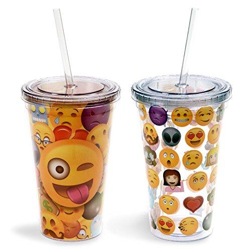 Emoji Universe: Emoji Tumblers, 16 oz (2-Pack) With Lids and Straws by Kangaroo