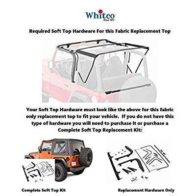 Whitco 35601215 Jeep Wrangler OEM Factory Style Replacement Top with Tinted Glass Black Oxford Fabric Interior | Black Denim Without Hardware With Doorskins 1997-2006 TJ Soft Top: Automotive