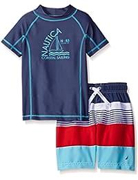 Nautica Boys' Two Piece Rashguard Set with Colorblock and...