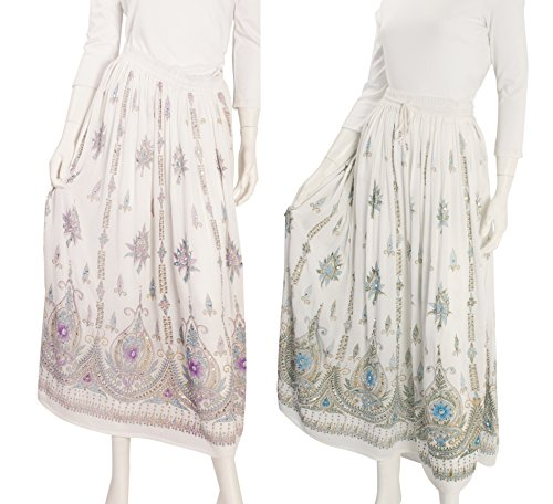 - JOTW 2 Pack of Indian Long Skirts with Sequins & Embroidered Designs (IND#9603) (White/Purple and White/Turquoise)