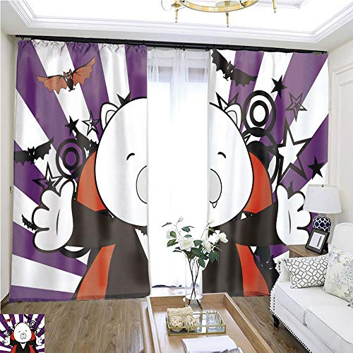 (Rollup Window Cute Polar Bear Dracula Costume Halloween Background W96 x L252 Wide Curtain for Insulation Highprecision Curtains for bedrooms Living Rooms Kitchens)