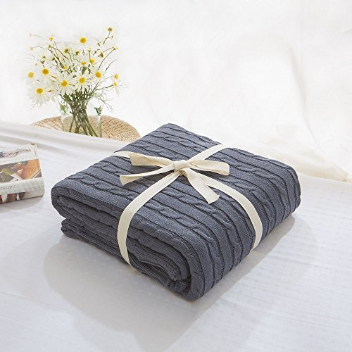 Prosshop Crocheted Blanket Handmade Super Soft Warm Twist Cotton Cable Knitting Throw Sleeping Cover Blanket Rug for Kids or Adults Bedroom Sofa/Bed/Couch/Car/ Quilt Living Room/ Office (Deep Grey) - Small Deco Leaf Edge