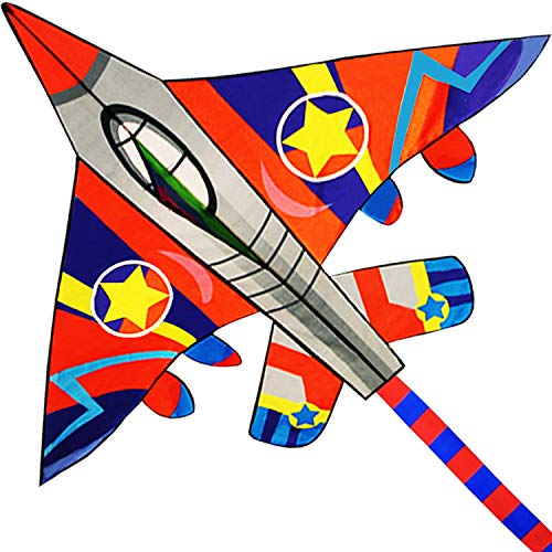 """HUGE Fighter Plane Kite for Kids and Adults- 58""""Wide with long tail- Easy Flyer - Kit Line and Swivel Included- Good for Outdoor Games and Summer the beach toys for kids"""