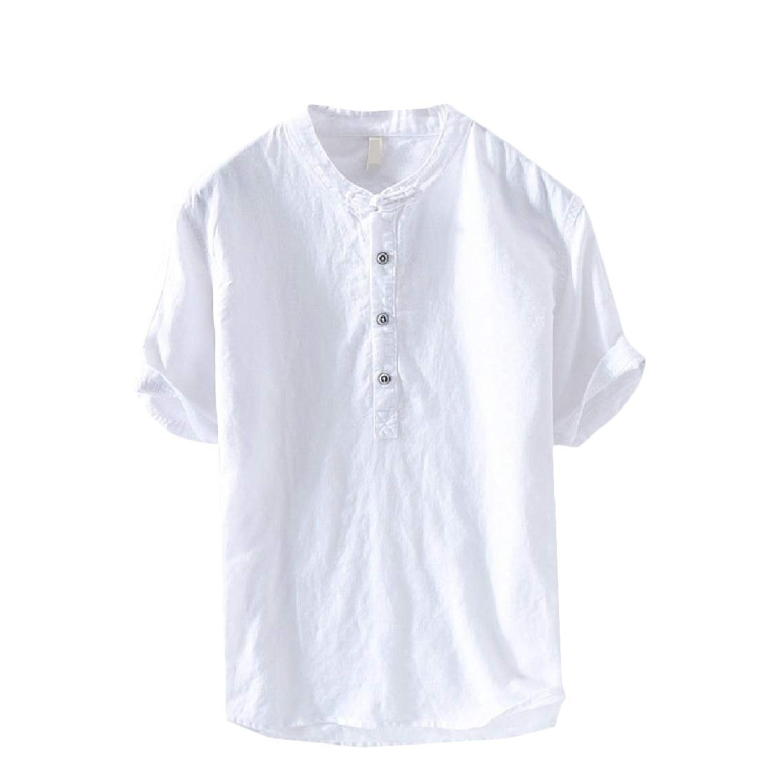 FreelyMen Relaxed-Fit Chinese-Style Solid Tribal Linen Tops T Shirt Blouse