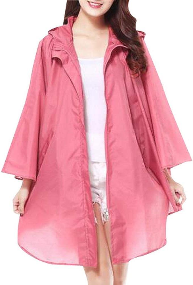 Vocni Rain Poncho Unisex Hooded Zip up Waterproof Raincoat Adults Rain Jacket Coat