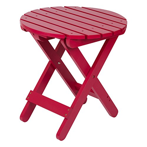 Shine Company Adirondack Round Folding Table, Tomato Red